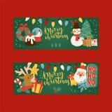 Weihnachten Glückwunsch 2019-des guten Rutsch ins Neue Jahr-Grußkarten-Vektorhintergrundfahnenfeiertags-Winterweihnachtshandabgeh lizenzfreie abbildung