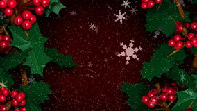 Weihnachten Holly Ivy mit dem Schnee-Flocken-Fallen vektor abbildung
