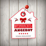Weihnachten House Price Sticker Wood Pin Stock Images