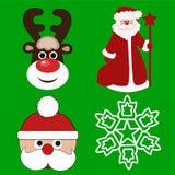 Weihnachten icons-2 Ökologische, hölzerne Weihnachtsdekorationen Lizenzfreies Stockfoto