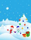 Weihnachten im Winterwald, Postkarte stock abbildung