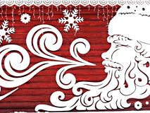Weihnachten, Karte des neuen Jahres, Dekoration - Santa Claus mit den Schneeflocken, Schneefälle Lizenzfreies Stockfoto