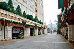 Weihnachten kleiden oben die Straße in Hong Kong. Lizenzfreies Stockbild