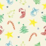 Weihnachten kritzelt Muster Stockfotografie