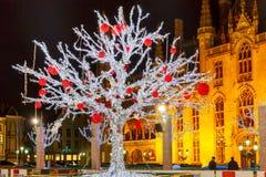 Weihnachten Market Place in Brügge, Belgien Lizenzfreie Stockfotos