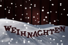 Weihnachten Mean Christmas On Snow With Snowflakes Royalty Free Stock Image