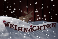 Weihnachten Means Christmas Snowflakes Mosse Royalty Free Stock Image