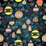 Weihnachten nahtlos mit Spielwaren und Bällen Stockbilder