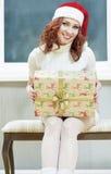 Weihnachten, neues Jahr, Weihnachtskonzepte und Feiern Junges Cauc Lizenzfreies Stockbild