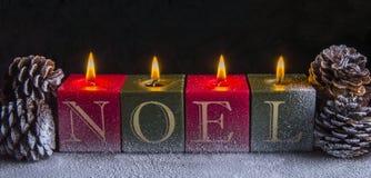 Weihnachten Noel Candles Lizenzfreie Stockbilder