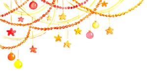 Weihnachten oder Dekor des neuen Jahres - Girlandenrahmen, Aquarell Lizenzfreie Abbildung