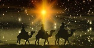 Weihnachten, Offenbarung, drei Könige auf Kamelen, Hintergrund mit Sternen lizenzfreie stockfotos