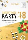 Weihnachten, Parteieinladungs-Plakatdesign 2018 des neuen Jahres für Winterurlaubfeier Parteifahne des Vektors am 24. Dezember Na vektor abbildung
