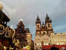 Weihnachten in Prag Stockfotografie
