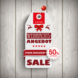 Weihnachten Price Sticker Wood Pin Royalty Free Stock Images