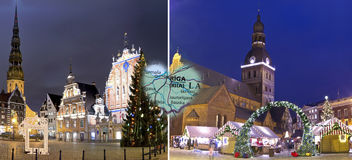Weihnachten in Riga, Lettland stockbild