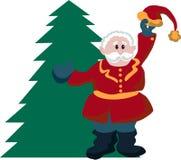 Weihnachten, Sankt, Klaus, Baum, Feiertag, Weihnachten, Winter, Dekoration, Rot, lokalisiert, Weiß, Geschenk, Feier, Schnee, glüc stock abbildung