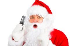 Weihnachten Sankt mit zellularem Lizenzfreies Stockbild