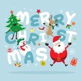 Weihnachten, Santa Claus und Freunde mit Beschriftung Lizenzfreies Stockbild