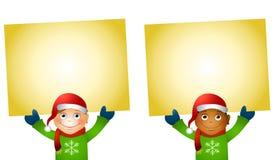 Weihnachten scherzt Holding-Zeichen Lizenzfreies Stockbild