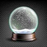 Weihnachten-Snowglobe-Vektor Bereichball Leerer Ball des Kristallglases Transparenter Hintergrund Realistische Abbildung vektor abbildung