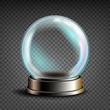 Weihnachten-Snowglobe-Vektor Glasbereich auf einem Stand Transparenz-Andenken Realistische Abbildung vektor abbildung