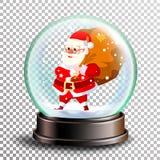 Weihnachten-Snowglobe-Vektor Netter Weihnachtsmann mit Geschenken Bereichball Leerer Ball des Kristallglases Transparenter Hinter lizenzfreie abbildung