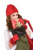 Weihnachten: Spähen über Weihnachtsstrumpf Stockfotografie