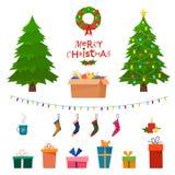 Weihnachten stellte dekorative Wintergegenstände des Esprits - Spielwaren, Geschenkboxen ein, lizenzfreie abbildung