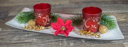 Weihnachten, Tealight-Halter mit Tannenzweigen Lizenzfreies Stockfoto