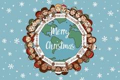 Weihnachten um die Welt lizenzfreie abbildung