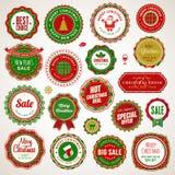 Weihnachten und Abzeichen und Aufkleber des neuen Jahres Lizenzfreies Stockbild