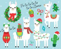 Weihnachten und Feiertags-Lama-und Alpaka-Vektor-Illustration stock abbildung
