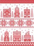 Weihnachten und festliches Winterdorfmuster in der Kreuzstichart mit Lebkuchenhaus, Kirche, wenige Stadtgebäude, Bäume Stockfotos
