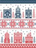 Weihnachten und festliches Winterdorfmuster in der Kreuzstichart mit Lebkuchenhaus, Kirche, wenige Stadtgebäude, Bäume Stockfoto