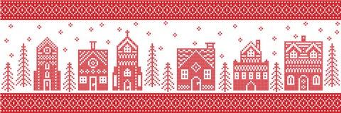 Weihnachten und festliches Wintermärchenlanddorfmuster in der Kreuzstichart mit Lebkuchenhaus, Kirche wenige Stadtgebäude Lizenzfreie Stockfotos