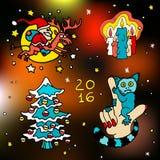 Weihnachten und glückliche neue 2016-jährige Vektorkarikaturikonen Stockfoto