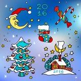 Weihnachten und glückliche neue 2016-jährige Vektorkarikaturikonen Lizenzfreies Stockfoto