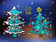 Weihnachten und glückliche neue 2016-jährige Vektorkarikaturikonen mit verzierten Bäumen Lizenzfreie Stockfotos