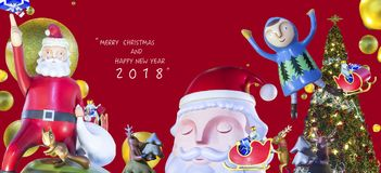 Weihnachten und glückliches neues Jahr Stockbild
