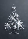 Weihnachten und neue Jahre Hintergrund mit dem Rahmen gemacht von den Sternen Lizenzfreies Stockfoto