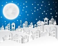 Weihnachten und neue Jahre Hintergrund mit Dorf gestalten landschaftlich vektor abbildung