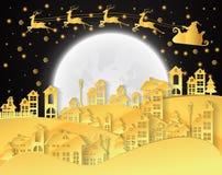 Weihnachten und neue Jahre Hintergrund mit Weihnachtsmann und Dorf vektor abbildung