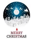 Weihnachten und neue Jahre Hintergrund mit Weihnachtsmann und Dorf gestalten im Fenster landschaftlich vektor abbildung