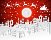 Weihnachten und neue Jahre Hintergrund mit Weihnachtsmann und Dorf lizenzfreie abbildung