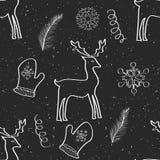 Weihnachten und neues Jahr übergeben gezogenes nahtloses Muster Lizenzfreies Stockbild