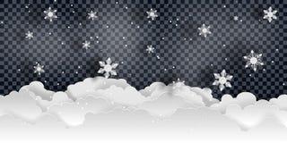 Weihnachten und neues Jahr Fallender Schneevektor lizenzfreie stockfotografie