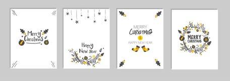 Weihnachten- und neues Jahr ` s Schablonen-Karten-Satz rollen, weißer Hintergrund-Vektor zusammen Stockfotos