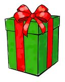 Weihnachten- und neues Jahr ` s Tag, Geschenkboxweißhintergrund stock abbildung