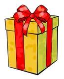 Weihnachten- und neues Jahr ` s Tag, Geschenkboxweißhintergrund vektor abbildung